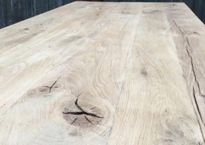 Eiken tafelblad robuust geborsteld en afgewerkt met ultra matte lak