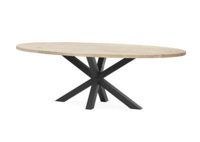 Ovale massief eiken tafel met Matrix-poot. Afwerking ultra matte transparante lak.  Afmeting 200x100 cm € 995,-