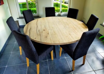 Ronde geschaafd oud eiken tafel