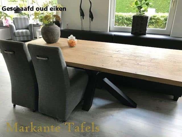 Eiken tafel 240x100 cm met matrix poot