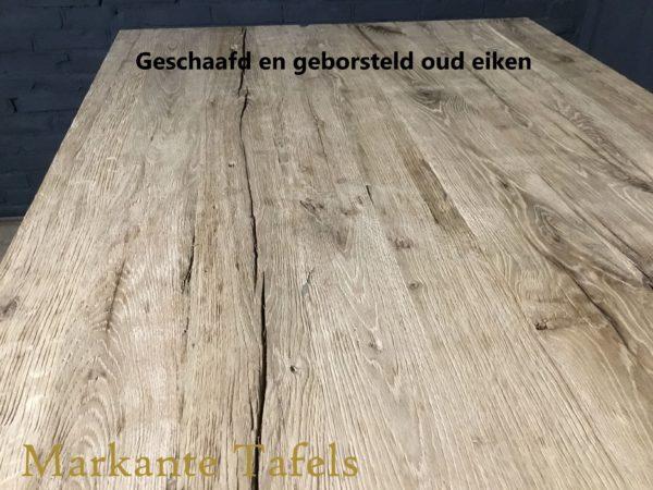 geschaafd en geborsteld oud eiken tafelblad