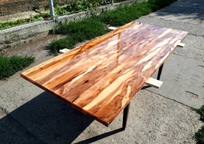 Tafelblad appelhout met epoxy