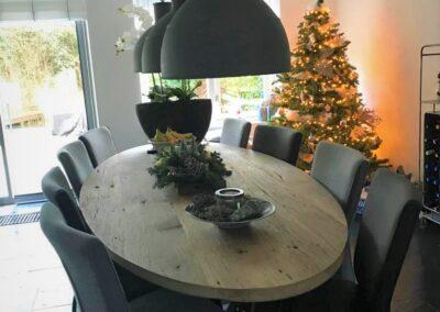 Geschaafd oud eiken ovale tafel 280x120 cm