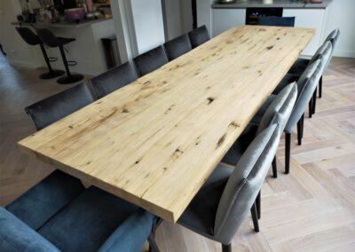 Geschaafd oud eiken tafel 320x100x6 cm