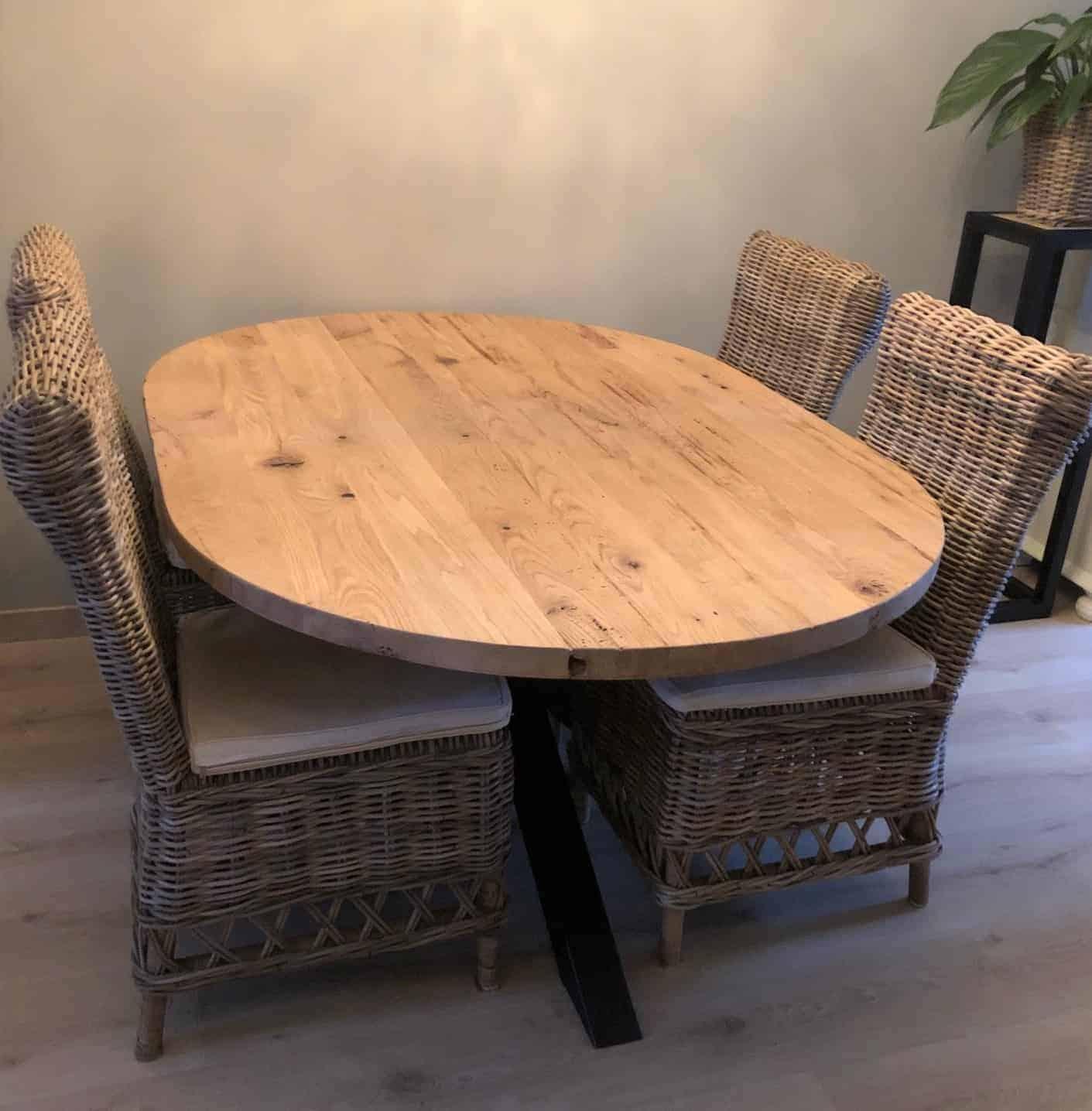 Oud eiken ovale tafel maatwerk