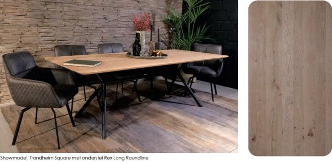 Eiken tafel met ronde hoeken en verjongde rand