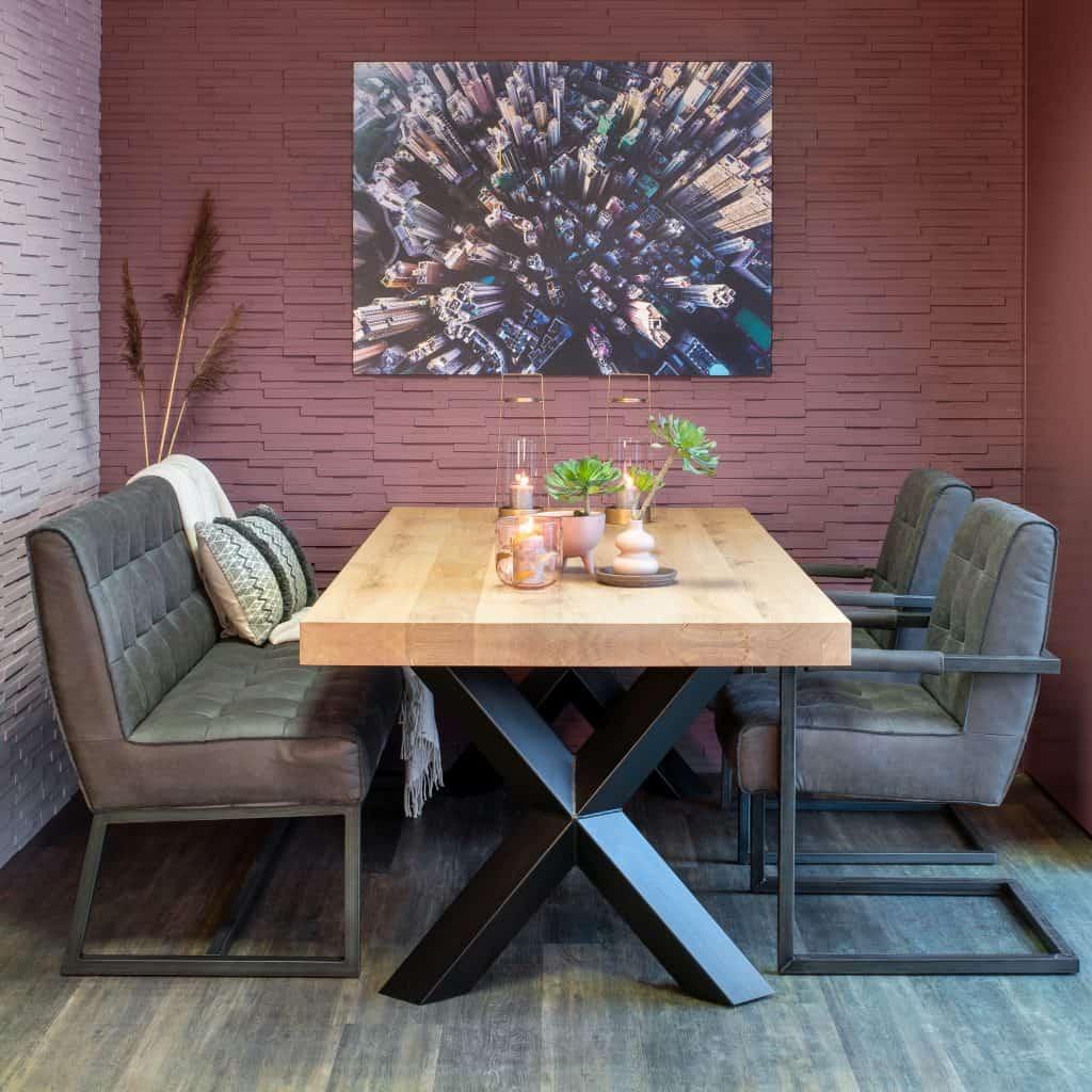 Extra dik rustiek eiken tafelblad (opgedikt 2x4cm). Leverbaar in de maten 200x100cm t/m 300x100cm.